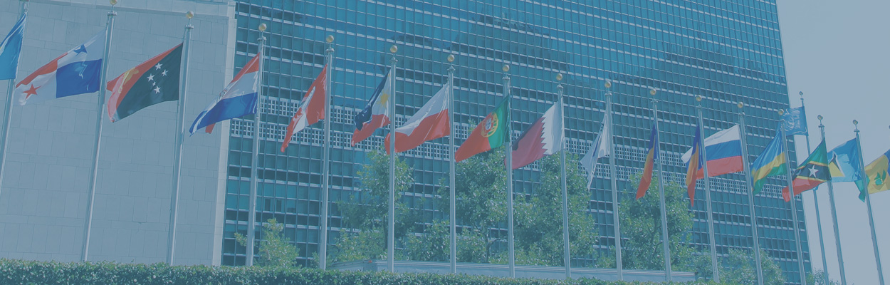 United Nations building with flags in front