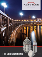 front cover of HID L.E.D. Solutions brochure showing a dark bridge with HID L.E.D. lamps shinning