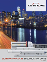 Front cover of Lighting Products Specification Guide with a city backdrop