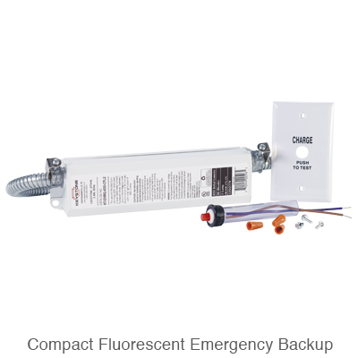 compact fluorescent emergency ballast and testing accessories