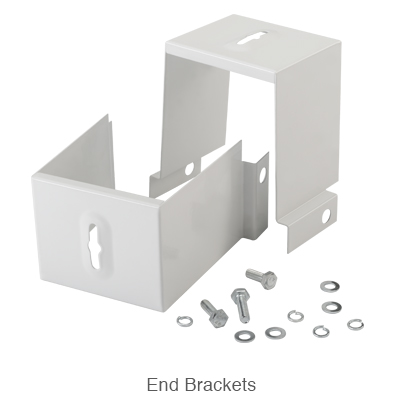 steel end brackets and screws for surface mounting the high bay fixture