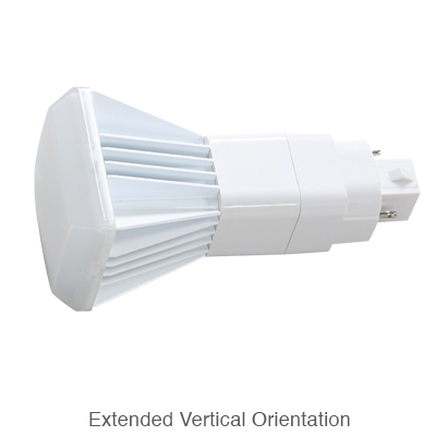 2 pin L.E.D. bulb in extended vertical orientation