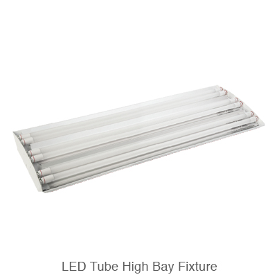 L.E.D. tube ready high bay fixture with L.E.D. tubes installed