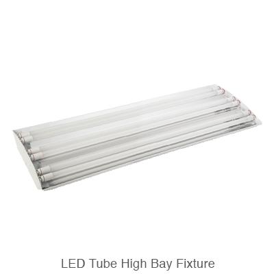 L.E.D. tube ready high bay fixture with L.E.D. tubes instalL.E.D.