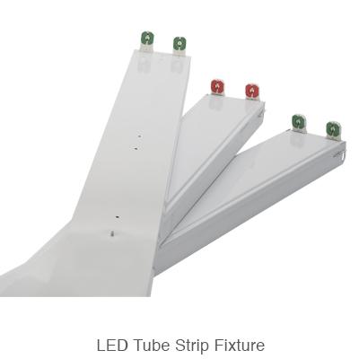 three L.E.D. tube ready strip fixtures