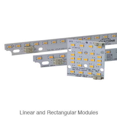 two linear L.E.D. modules and one rectangular L.E.D. module
