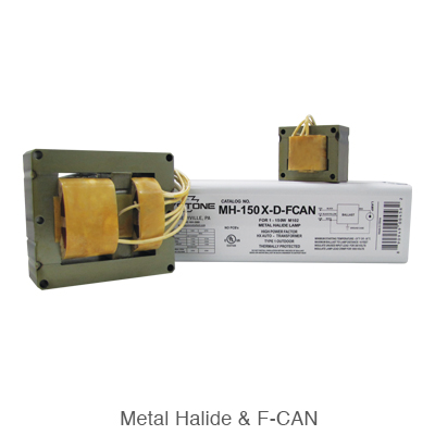 a large and small metal halide ballast and F-can ballast for HID ballast replacement