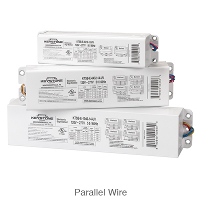 three stacked electronic sign ballasts for parallel wiring