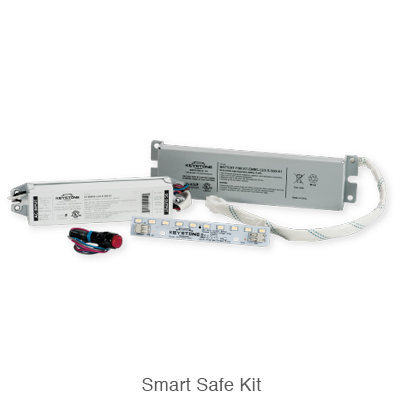 Kit option including L.E.D. emergency driver, emergency battery backup, and L.E.D. module