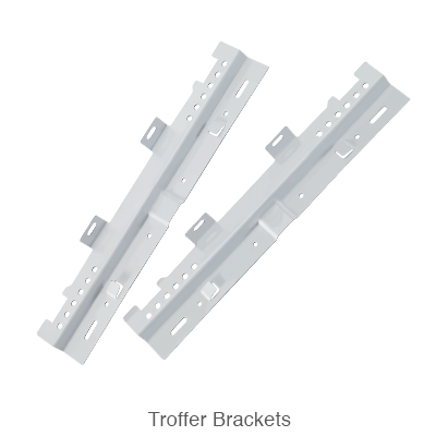 two brackets from an L.E.D. troffer retrofit kit