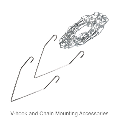two v-hooks and chain for mounting L.E.D. high bay fixtures