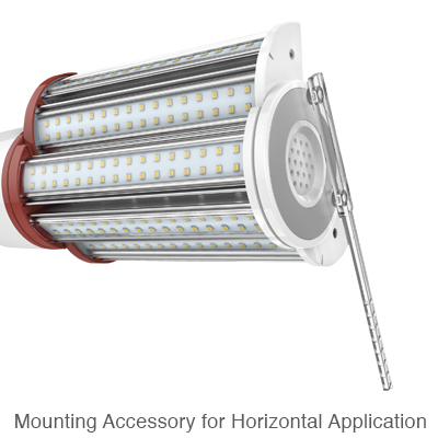 wall pack metal halide replacement lamp with mounting accessory to stabilize lamp in horizontal orientation