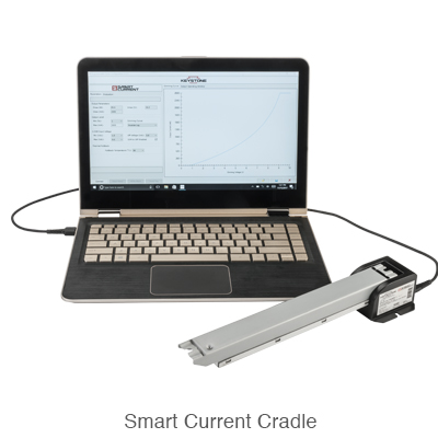 laptop set up with programmable L.E.D. driver via Keystone's smart current cradle