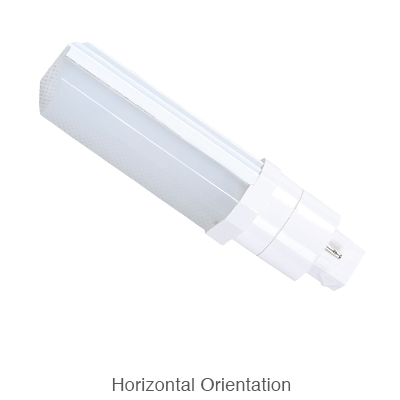 2 pin L.E.D. bulb in horizontal orientation