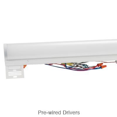 strip fixture L.E.D. retrofit kit showing the pre-wired L.E.D. driver