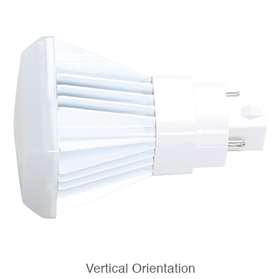 2 pin L.E.D. bulb in vertical orientation