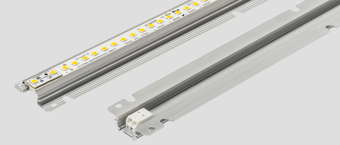 Alumagroove linear LED module & underneath view