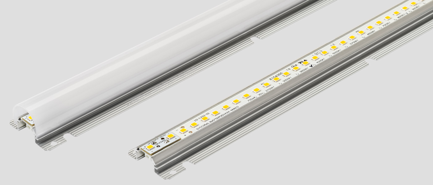 Alumagroove linear LED module with & without lens