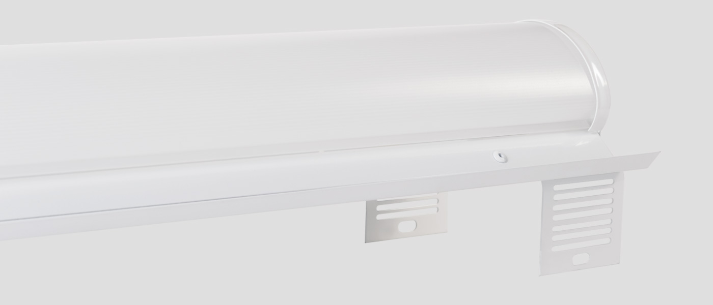 Strip LED retrofit kit with brackets attached