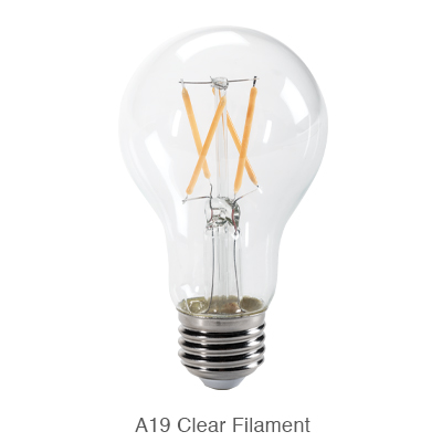 A19 clear LED filament bulb