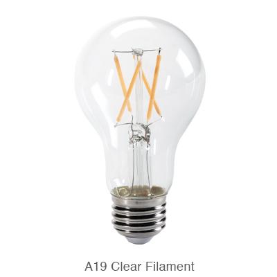 A19 clear LED filament bulb