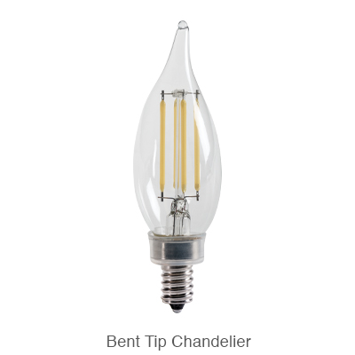 Bent tip CA11 LED chandelier light bulb