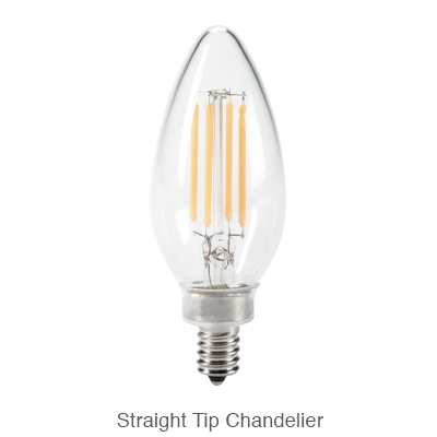 Straight tip B11 LED chandelier light bulb