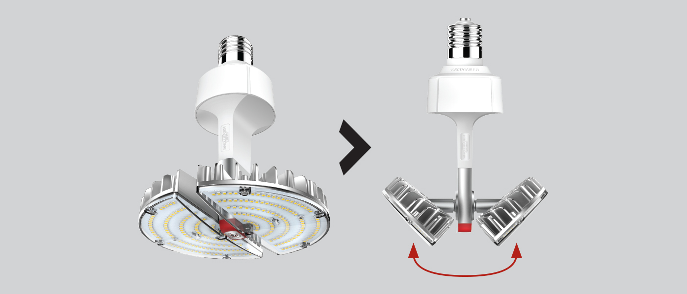 Folding OmniFlex for low bay/high bay lighting applications