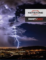 Front cover of SmartSafe brochure with a sky lit up by lightening background