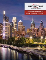 Front cover of Lighting Products Quick Reference Guide with a city scape background