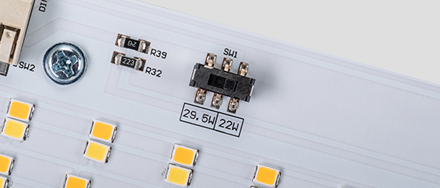 Power Select switch on an 11 inch rectangular LED light engine