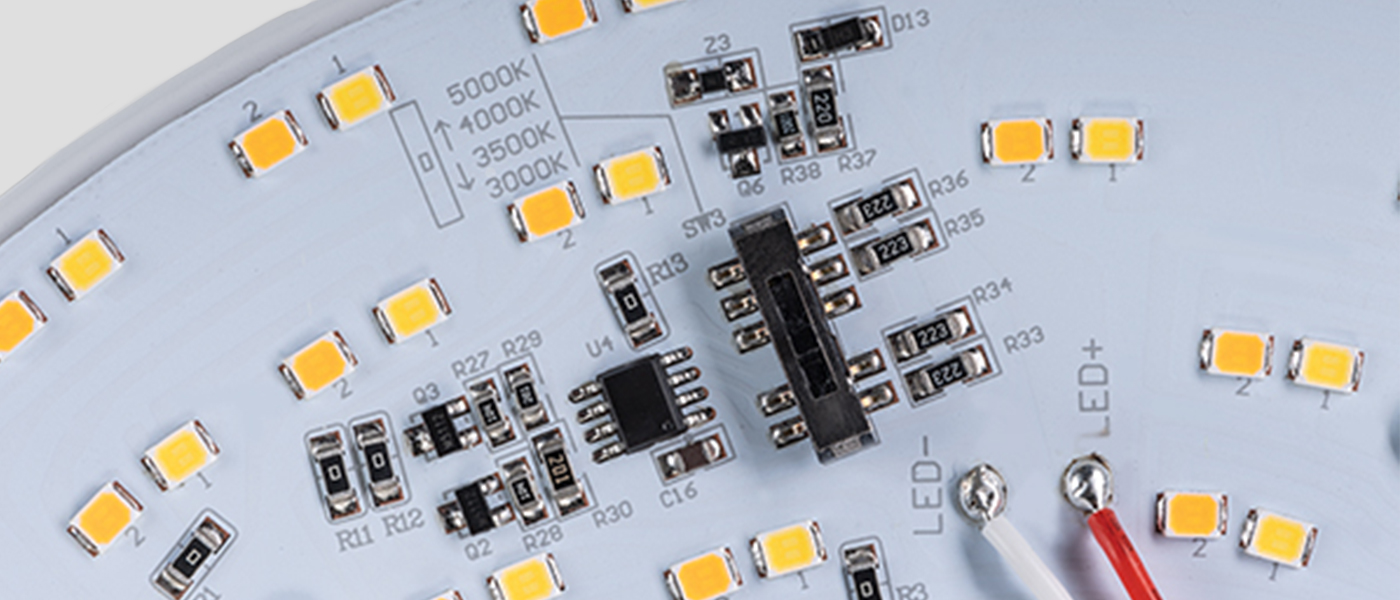Color Select switch on an 8 inch rectangular LED light engine