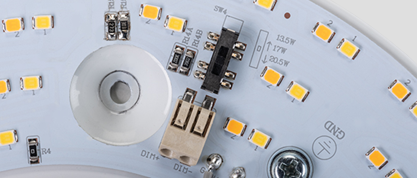 Power Select switch on an 8 inch circular LED light engine