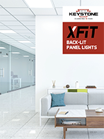 front cover of X-Fit Back-Lit Panel Light Brochure showing modern office with panel lights