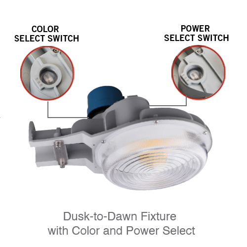 Dusk-to-Dawn Fixture with Color and Power Select