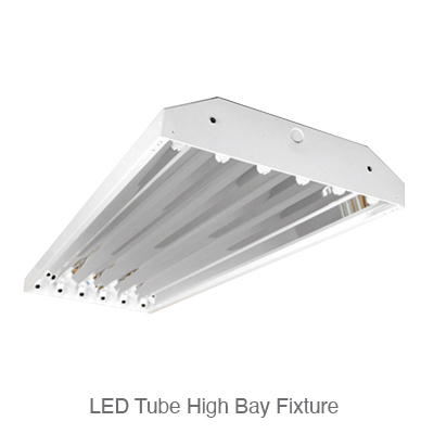 LED tube ready high bay fixture with LED tubes installed