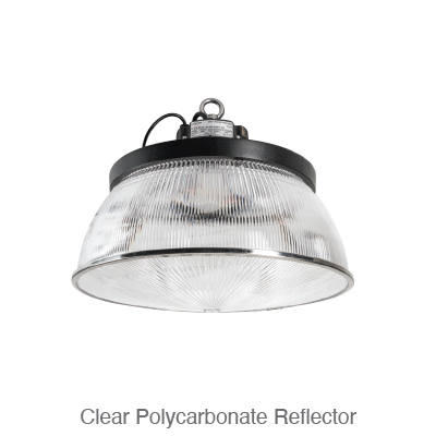 Power and Color Select Round High Bay Clear Polycarbonate Reflector